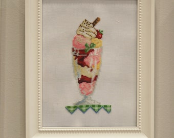 Chef gift. Ice-cream finished cross stitch. Gelato shop decor. Icecream lover gift. Summer decor Hand embroidered Cottage chic House warming