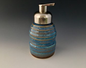 One of a Kind Handmade Ceramic Pump Dispenser for Foaming Soap by NorthWind Pottery