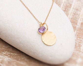 Hammered disc necklace with Amethyst Charm/Hammered Disc Necklace/Amethyst necklace/Amethyst Charm Necklace/February birthstone necklace