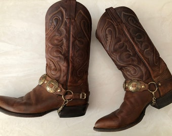 Tony Lama Style 6478 Brown Size 9.5 D (US) Used Cowboy Boots Good Condition.