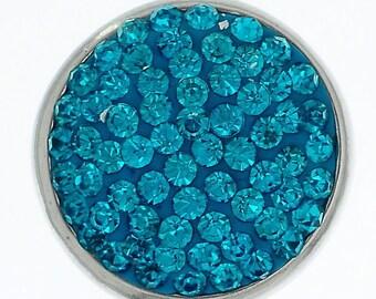 x 1 button pression(pour bijoux) round pave turquoise rhinestone 20 mm