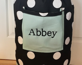 Monogrammed Laundry Duffel Bag, Teal, Black Polk a dot, Laundry Bag, Laundry Bag for College, Hanging Laundry Bag, Laundry Hamper