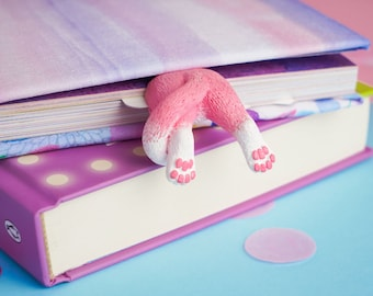 Kitty Tail bookmark. Pink cat perfect gift for animal lover.