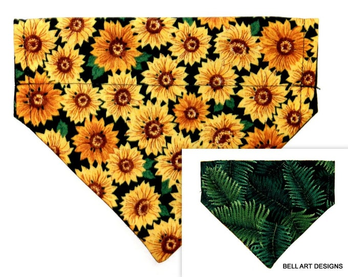SUNFLOWERS ~ Over the Collar ~ Reversible ~ Dog Pet Bandana ~ Bell Art Designs ~ Extra Small ~ DCXS0477