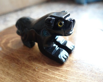 Hand Carved *PANTHER* Black Onyx Animal Spirit Totem for Spiritual Jewelry or Crafts
