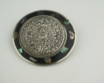 Aztec Style Alpaca Mexican Round Abstract Abalone Shell Brooch