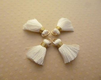 Set of 4 white gold 20mm - PP-1288 silk tassels