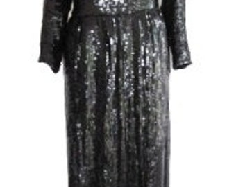 Vintage 1980s Lillie Rubin Black, Gold & Silver Fully Sequined Evening Dress