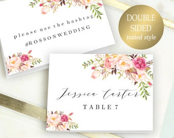 Double Sided Place Cards Printable Place Card Template Editable Reserved Seating Cards Folded Name Cards Floral Place Cards Tent Cards PDF