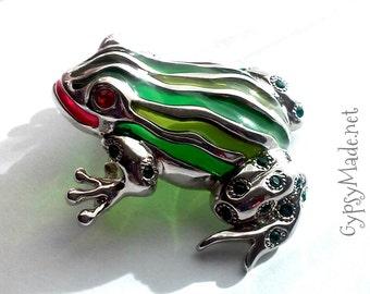 Vintage Sterling Silver Swarovski Glass Fantasy Fairy Frog Brooch - Refurbished