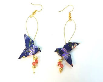 Origami doves blue and gold earrings