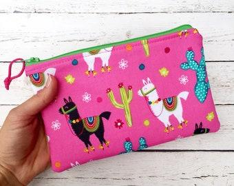 Llama Bag, Llama Pouch,  Llama Gifts, Cactus Makeup Bag, Makeup Organizer, Gift for Her