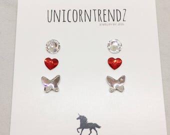 Swarovski Studs, butterfly earrings, Swarovski Earrings, Swarovski Jewelry, Swarovski Gift, Hypoallergenic Studs, Clear Studs, Clear Earring