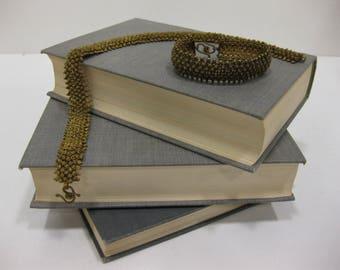 Ornate Vintage Bali-Style Brass Necklace and Bracelet Set With S-Hook Closure