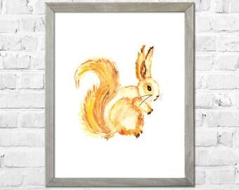 Squirrel Art Print, Watercolor Painting, Squirrel Painting, Squirrel Wall Art, Nursery Wall Decor, Squirrel Painting, Watercolor Art