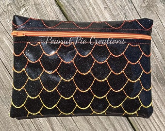 Dragon - scales - accessories - makeup - pencil - pen - pouch - glitter - ombre - clutch - zipper bag - travel