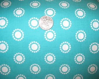 100 percent cotton fabric/aqua/white/quilting/crafts/by the yard