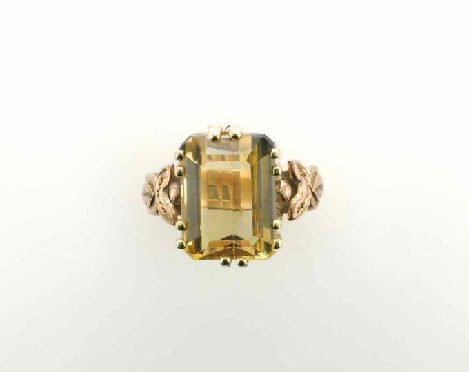 Emerald Cut 8.25 Carat Citrine Ring in 10 Karat Yellow Gold Mounting with Hallmark