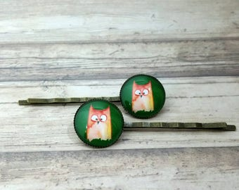 Owl bobby pins, barrettes owl motif, owl watercolor illustration, hair pins, hair jewelry, hair accessory, cosplay jewelry, woodland owl