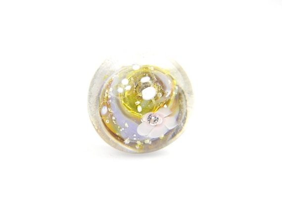 Art Glass Ring - Olive and Purple Art Glass Bead Sterling Silver Ring - Classic Collection