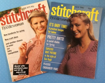 Stitchcraft Magazines - 1979 and 1980 Vintage Needlecraft Books - Retro Craft Magazines - Crochet Knitting Embroidery Sewing