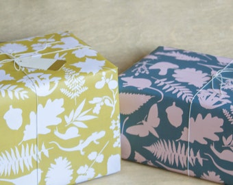 Botanical Wrapping Paper - 3 Sheets - In the Woods Wrap Slate Blue and Pink - Yellow and White