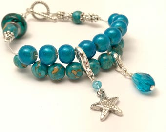 Starfish Abacus Charm Bracelet- Row Counting Bracelet- Gift for Knitters- Knitting Jewelry- Counter