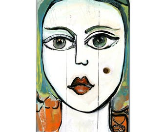 original art nomade painting figurative art on decorative wood