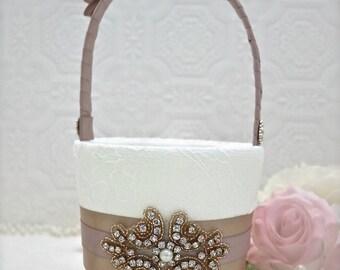 rose gold basket, rose gold and blush ring bearer pillow, rose gold and blush wedding, rose gold flower girl basket, blush ring pillow