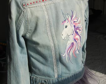 Hand Painted Unicorn Jean Jacket with Tulle