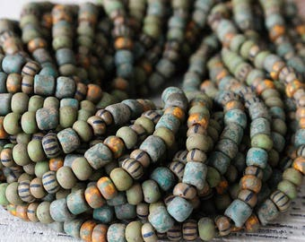 Size 6 Aged Seed Bead Mix - Rustic Seed Beads For Jewelry Making Supply - MOSS Green And Striped Matte Seed Beads And Tubes - Choose Amount