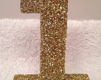 """8"""" glitter numbers.  First birthday.  Photo prop letters and numbers.  Custom numbers.  Number 1. Gold number 1. Photo prop number."""