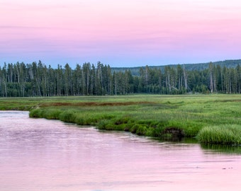 Gibbon River Sunset, Yellowstone National Park, Wyoming Art, Yellowstone Print, Fine Art  Photography, Nature Photography, Wyoming Art