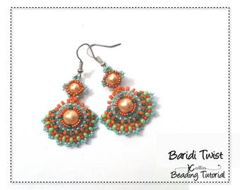 Right Angle Weave, Beading Pattern, Fan Shaped, Feminine, Fun Earrings, Beading Instructions, DIY Seed Bead Jewelry Tutorial  BARIDI TWIST