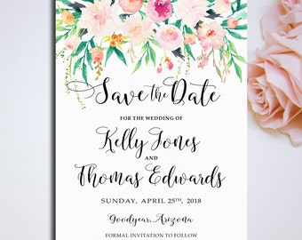 Printable Save the date Romantic Garden Wedding Invitation floral Save the date Printable digital files RGW-24