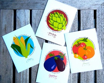 Notecards -Vegetables 4-pack