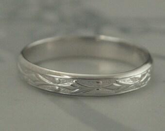 Vintage Style Ring~White Gold Wedding Band~14K Gold Ring~Edwardian Band~Antique Style Ring~Patterned Band~Women's Wedding Ring~Men's Band