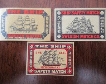 3 antique matchbox paper -  unused, Sweden, Swedish, matches, labels, The Ship
