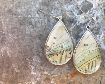 Beach Vintage Nautical Chart Map Dangle Drop Earrings