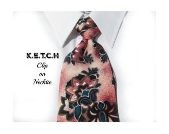 clip on tie - suit tie - Clip tie, men's clip on tie,designer tie - Men's tie,  70's tie    # T 26