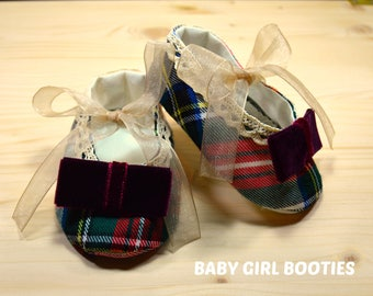 Booties. Baby fabrics shoes. Accesories for Moniques Whims Dresses.