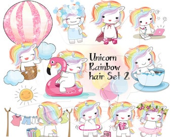 Rainbow hair unicorn set 2, Kawaii Unicorn clipart instant download PNG file - 300 dpi