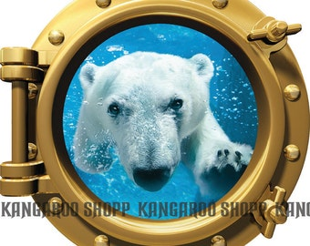 Polar Bear 001 Porthole Wall Decal