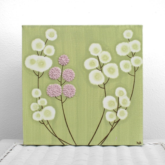 Small Painting on Canvas Green and Pink Flower Wall Art