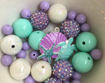 DIY chunky necklace under the sea kit.. DIY KIT.. under the sea necklace kit.. party favor.. under the sea necklace charm.. under the sea pa