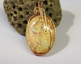 C-18 Mexican Crazy Lace Agate Wirewrapped Pendant, Agate Pendant, Agate Necklace, Agate Jewelry, Gemstone Necklace