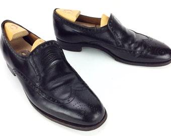 Men's Vintage Antique Peal & CO for Brooks Brothers Slip On Brogue Wingtip  Black Leather Dress