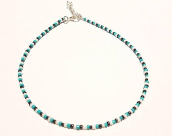 Turquoise, black, and white beaded choker, seed bead choker necklace, boho choker, glass bead choker, minimalist small bead choker necklace