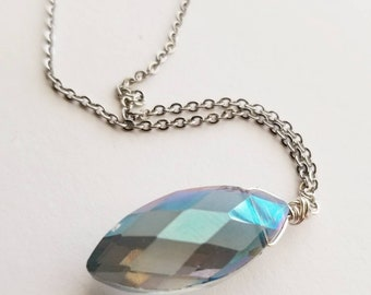 Blue crystal pendant,  glass necklace, faceted necklace, silver, stainless steel chain, solitaire, beaded necklace,  purple, blue, green