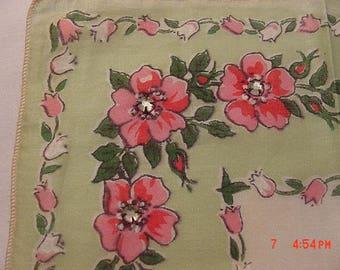 2 Vintage Burmel Original Rhinestone Accented Handkerchiefs  18 - 43